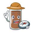 explorer fresh chocolate splash on pouring mascot vector image vector image