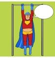 Fat superhero on horizontal bar comic vector image vector image