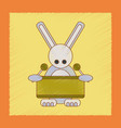 Flat shading style icon kids rabbit drummer