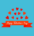 flying red heart and ribbon print poster happy vector image