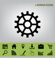 gear sign black icon at gray background vector image vector image