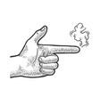 gun gesture smoke sketch vector image vector image