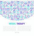 herbal therapy concept with thin line icons vector image vector image