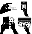 Icon set with Hands holding credit card smartphone vector image