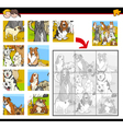 jigsaw puzzle activity with dogs vector image vector image