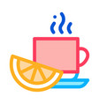 lemon tea cup icon outline vector image