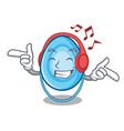 listening music oxygen mask mascot cartoon vector image