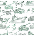 military transport pattern vector image vector image
