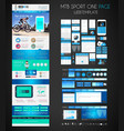One page SPORT website flat UI design template vector image vector image