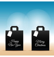 paper bag with happy new year set on it vector image vector image