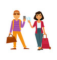 people travel flat icons man and woman on vector image vector image