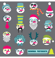 Photobooth Snowman Party set vector image vector image