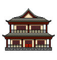 pixel art japanese house detailed isolated vector image vector image