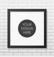 Realistic square black frame on the brick wall vector image vector image