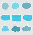 set blue paper speech vector image vector image