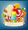 set ice cream candy and sweets with ribbon vector image