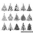 set luxury christmas trees vector image vector image