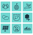 set of 9 eco icons includes insert woods guard vector image vector image