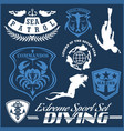 set scuba diving club and diving school design vector image vector image