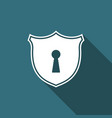 shield with keyhole icon isolated with long shadow vector image