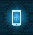 smart phone with brain image icon over blue vector image