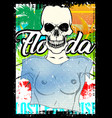 summer skull poster design tee graphic vector image