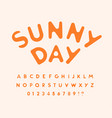 sunny letters and numbers set melted from hot sun vector image vector image