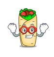 super hero burrito character cartoon style vector image