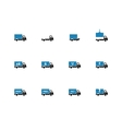 Truck and transportation duotone icons on white vector image vector image