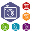 vintage photo camera icons set vector image vector image