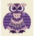 Violet patchwork owl vector image vector image
