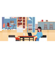 woman sitting at workplace with laptop using vector image vector image