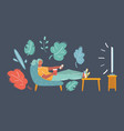woman watching tv sitting on couch at home vector image vector image