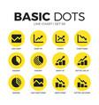 line chart flat icons set vector image