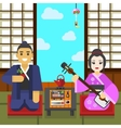 Geisha and samurai tea ceremony vector image