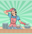 pop art housewife washing dishes at the kitchen vector image
