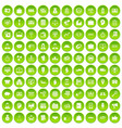100 business group icons set green circle vector image vector image