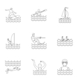 Active water sport icons set outline style vector image vector image