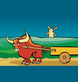 angry bull drags the cart along the road vector image vector image