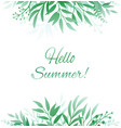 background with leaves hello summer vector image