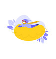 boy in hat snowtubing outdoors in winter vector image vector image