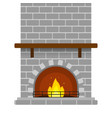 brick fireplace isolated vector image vector image