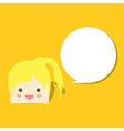 cartoon doodle girl witch speech bubble vector image