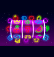 casino slots neon icons slot sign machine night vector image