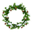 christmas snowy wreath frame vector image