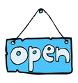 comic cartoon open shop sign vector image vector image