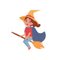 cute little girl dressed as a witch flying on a vector image vector image