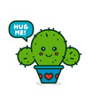 cute smiling happy cactus say hug me vector image vector image
