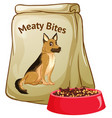dog food on white background vector image vector image
