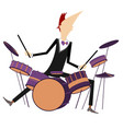 drummer and drum kit vector image